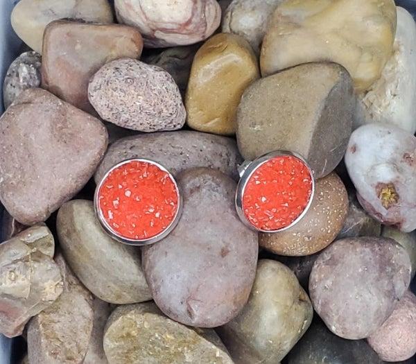 Silver Rim Sparkle Stud Earrings