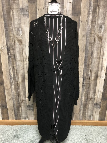 Black Long Knitted Cardigan