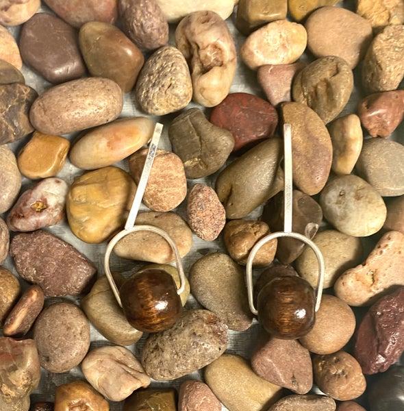 Silver Wood Bead Earrings
