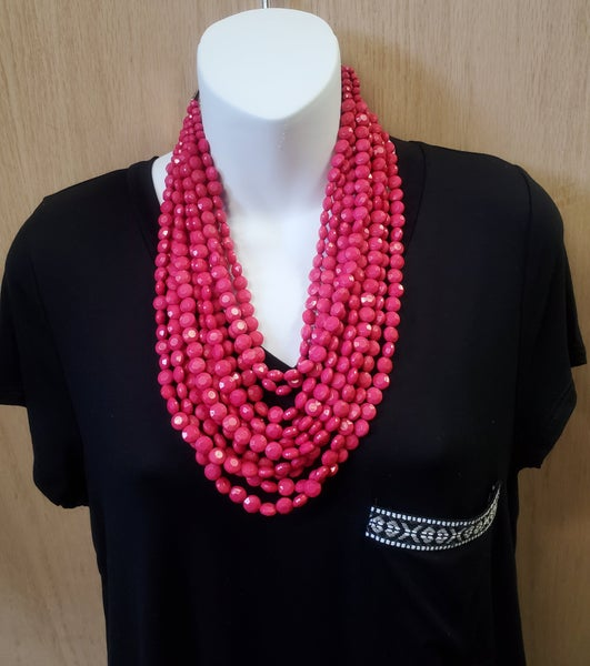 Multi Pink Beaded Necklace