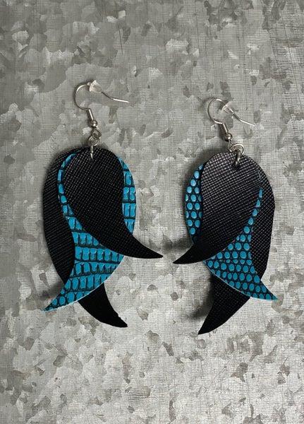 Blue Nontextured Drop Dangle Earrings