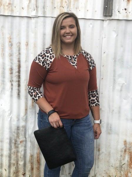 Sophia Leopard Rust Top