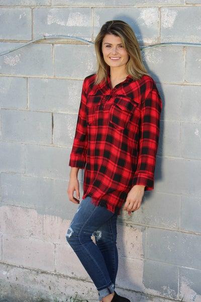 Red & Black Plaid Tunic Top