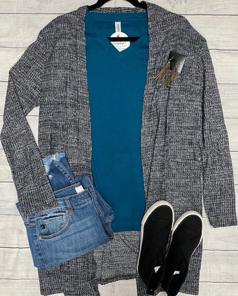 Cindy Charcoal Long Style Cardigan