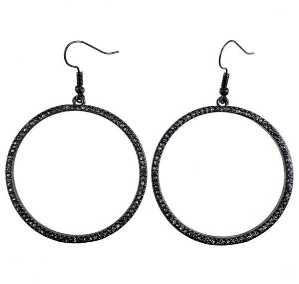 Black Diamond Crystal Hoop Earrings