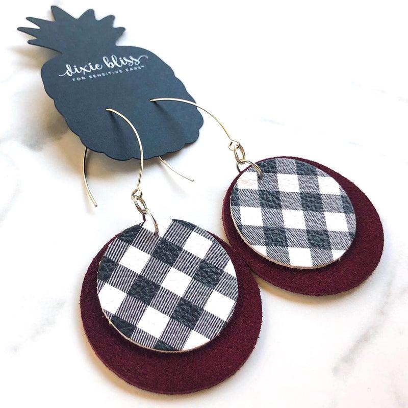 Bristol in Wine & Plaid Earrings