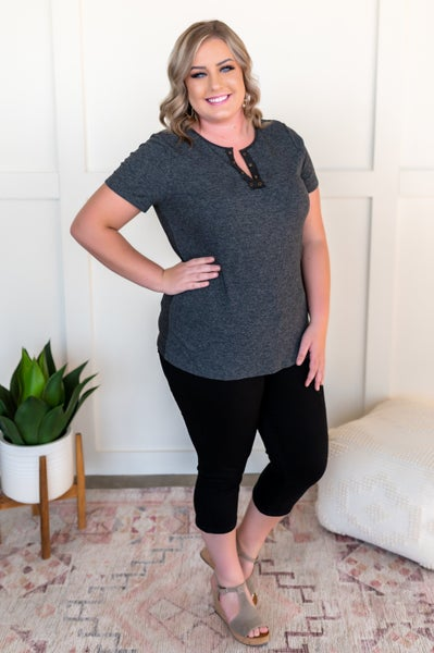 Chase Is The Race Eyelet Top In Charcoal