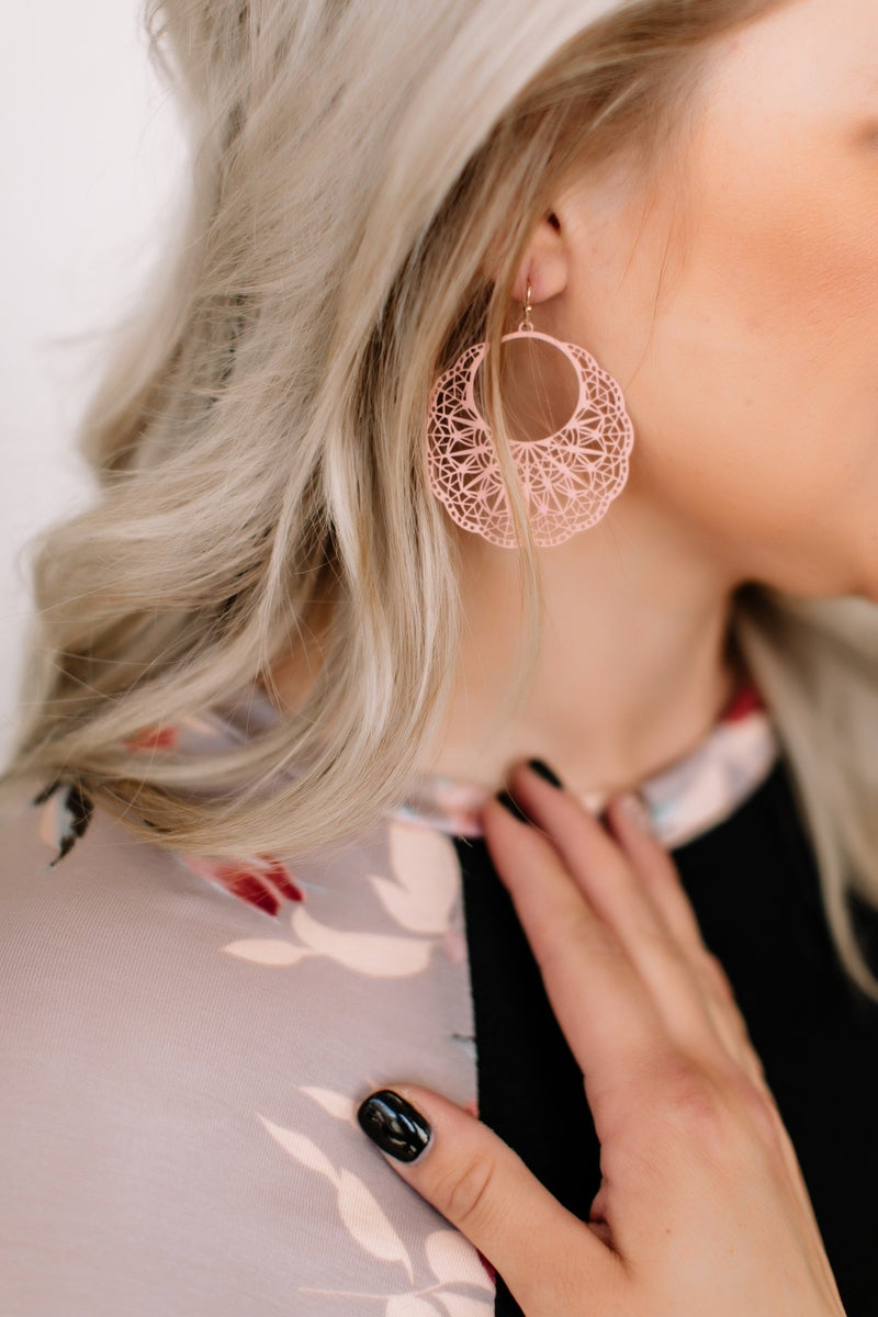 Agree To Filigree Earrings In Blush