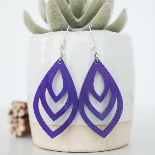 Purple Pearl Teardrop Dangle Earrings