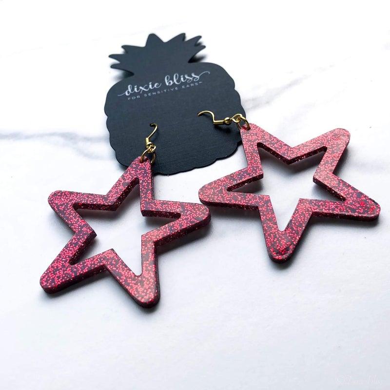 Retro Ruby Star Earrings