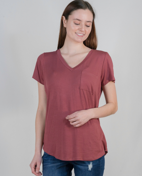 Not So Basic Pocket Tee in Mauve