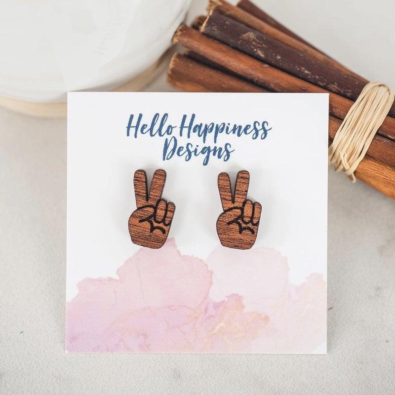 Peace Sign Wooden Stud Earrings