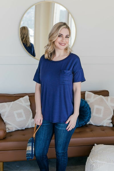 What's The Scoop Top In Rich Navy