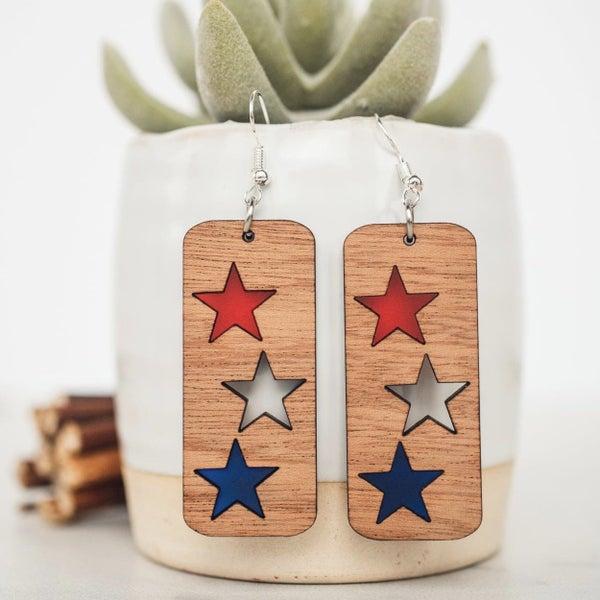 Americana Star Inset Wood Dangle Earrings