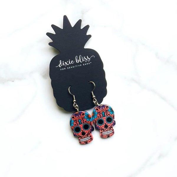 Sweet Sugar Skulls in Coral Earrings