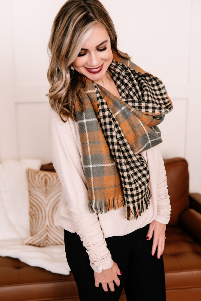 Wrap Me Up In Harvest Plaid Scarf