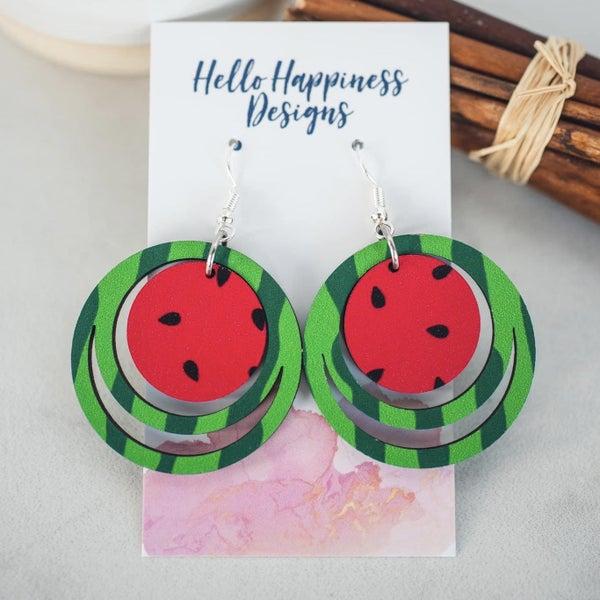 Watermelon Wooden Dangle Earrings