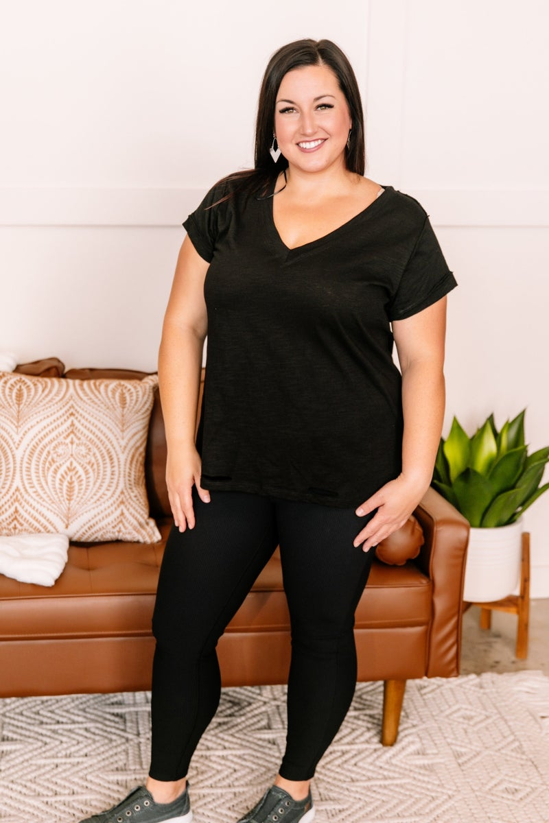 Holes In Your Story Top In Black