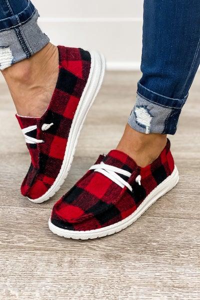Gypsy Jazz Red & Black Plaid Slip On Sneaker
