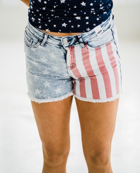 Judy Blue Flag Print Shorts
