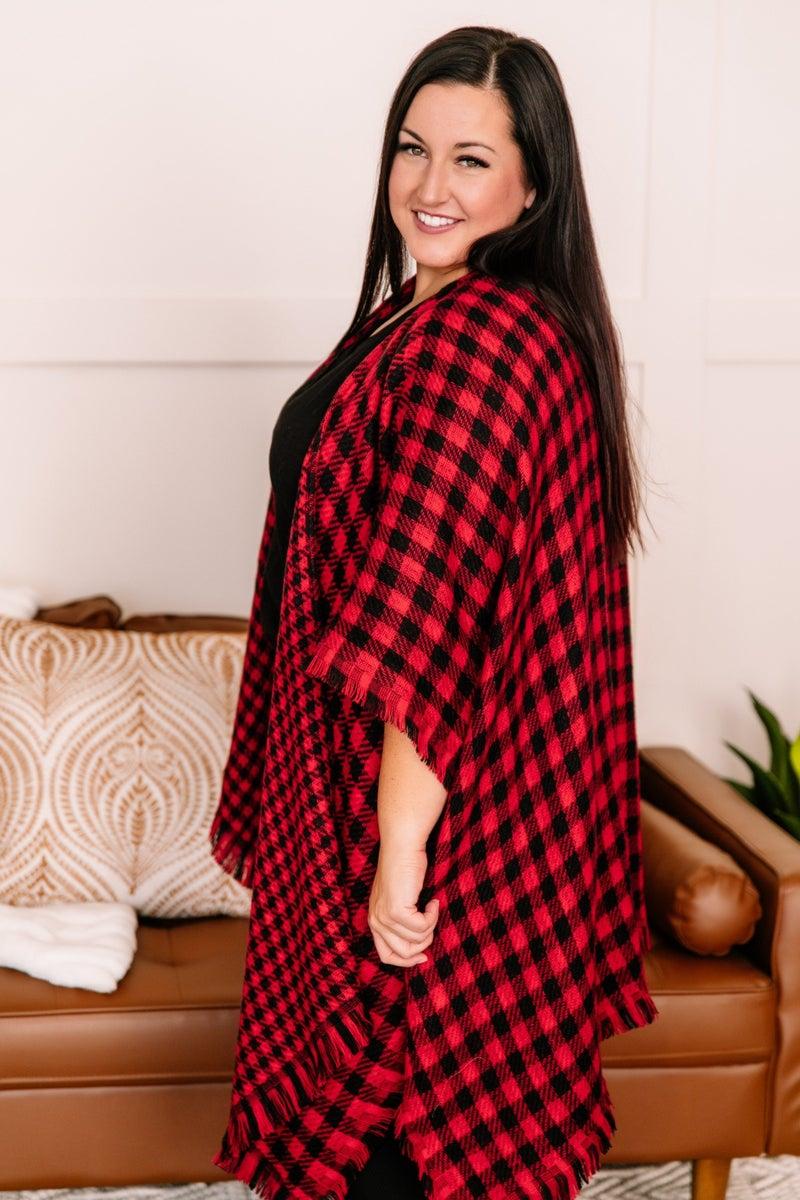 Double Down Black And Red Plaid Kimono