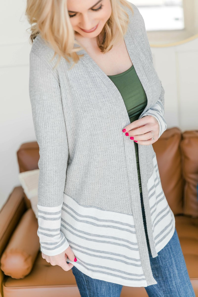 Change Up Your Stripes Cardigan In Gray
