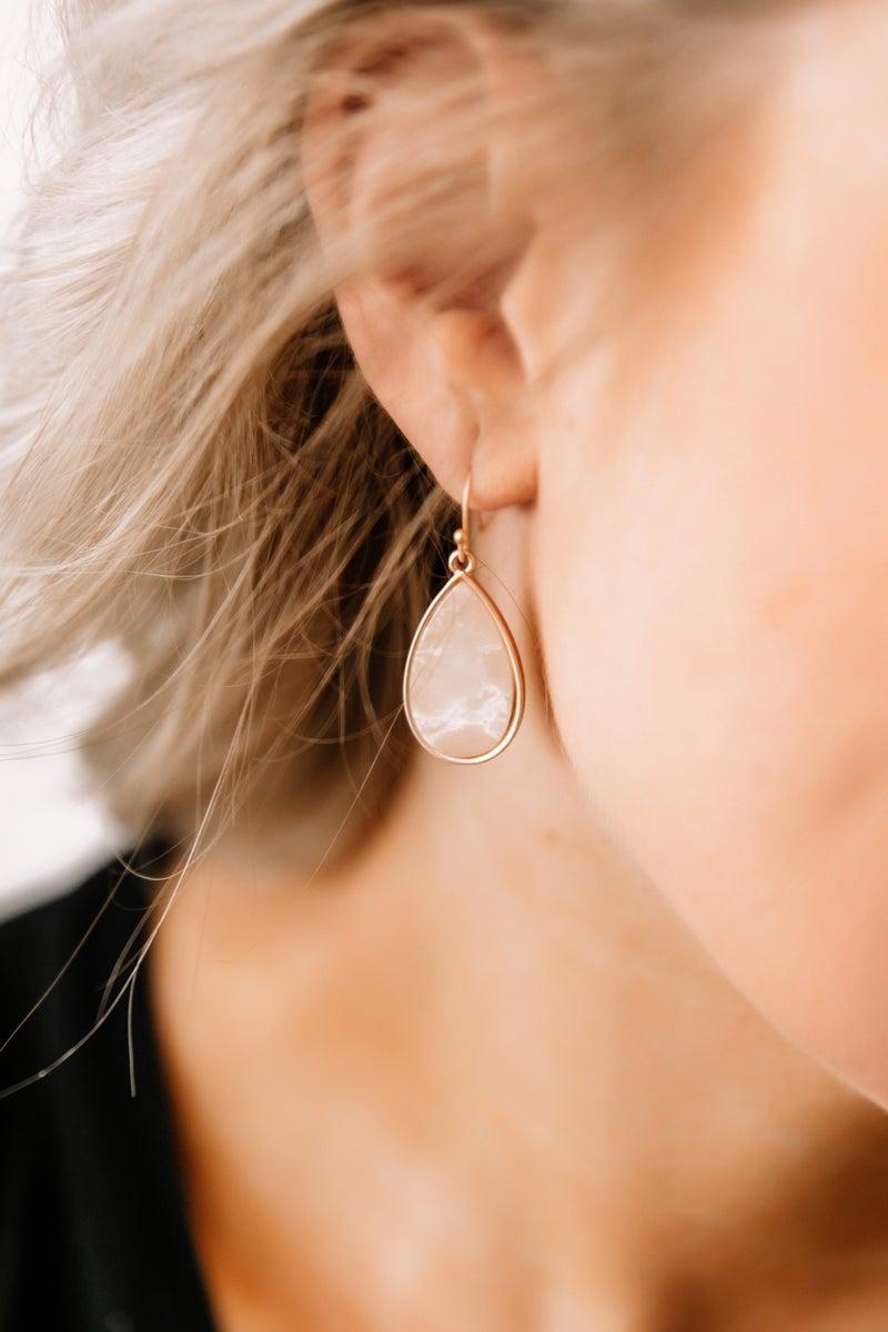 Turned To Stone Tear Drop Earrings in Jasper