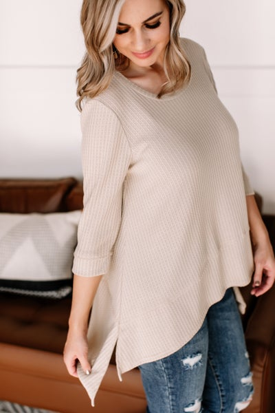 Carry A Tunic In Natural Waffle Knit