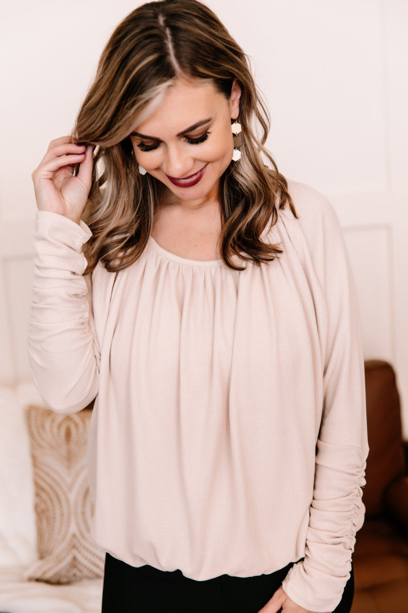 Gathered Together Ruched Oatmeal Top