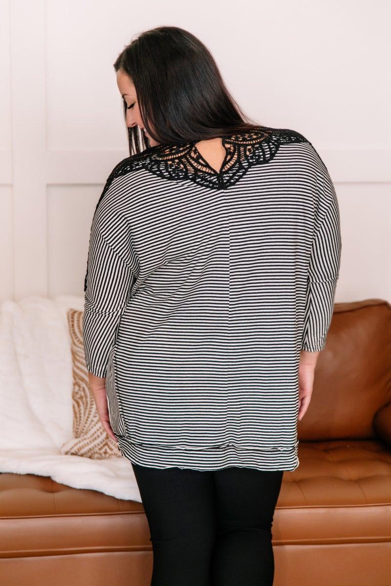 Just A Trim Crochet Striped Top In Black & White