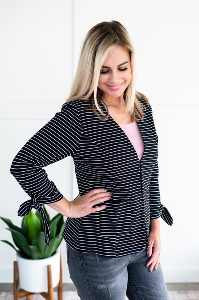 We're In Business Now Knit Blazer In Black & White