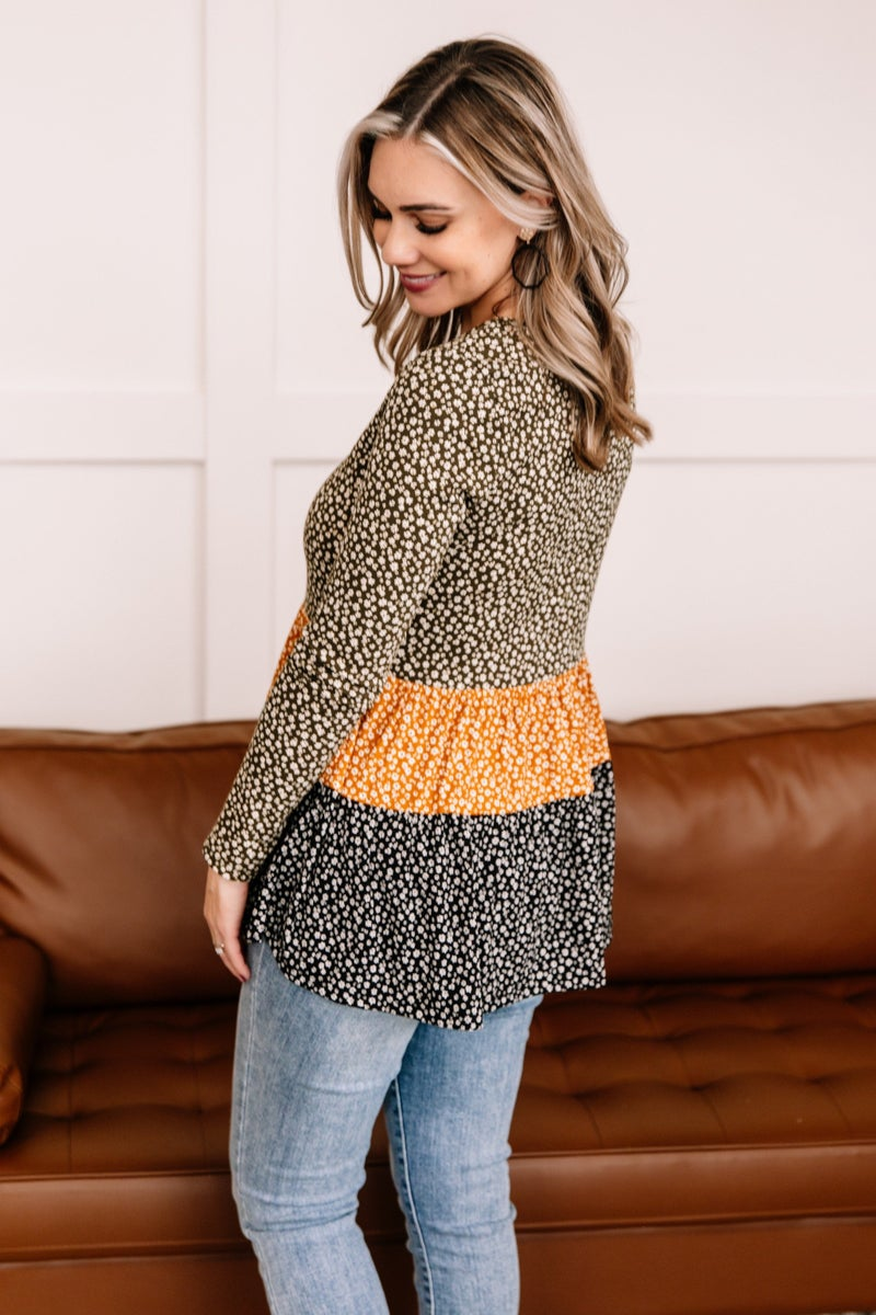 Winning Combination Tiered Top In Olive, Gold and Black