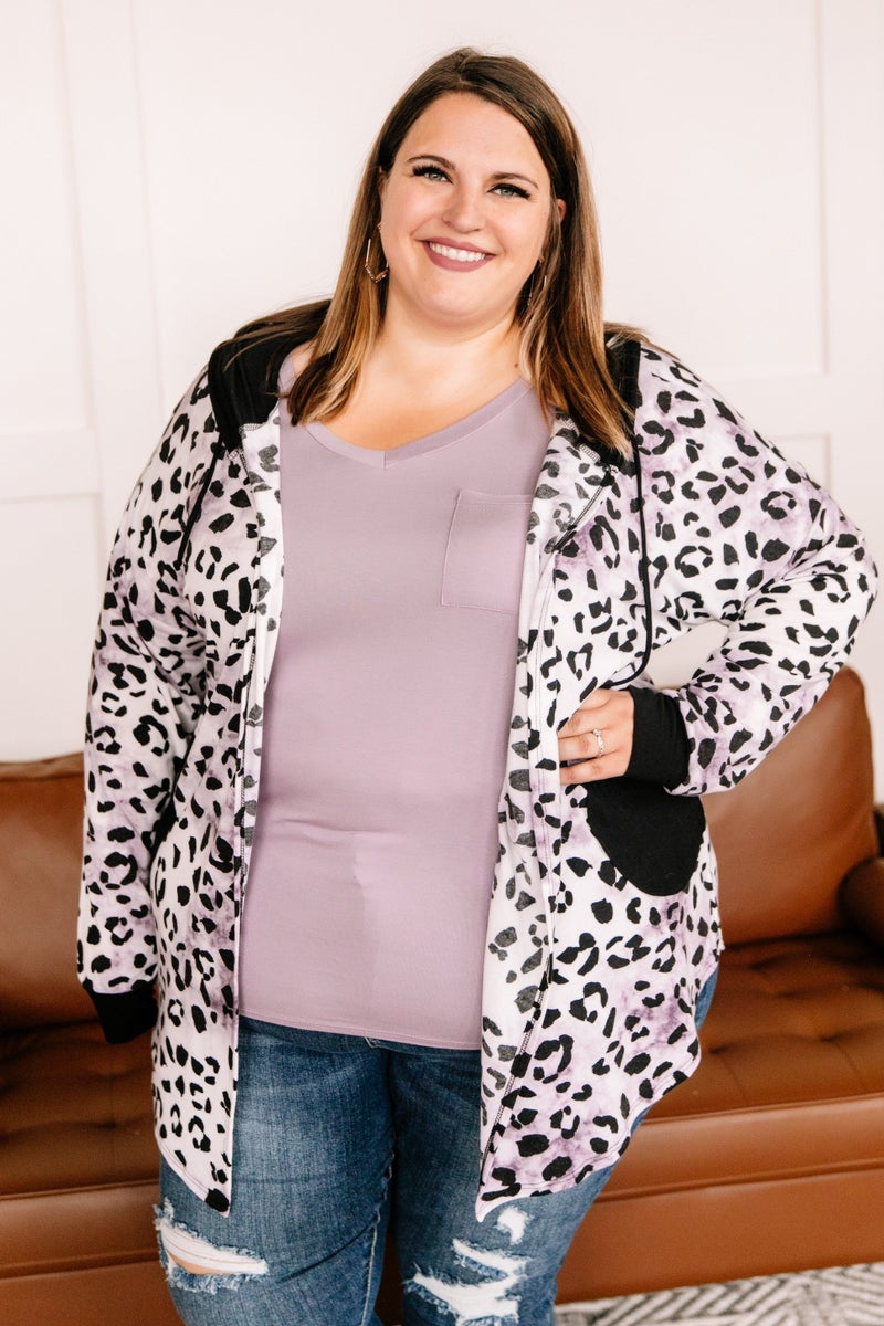 My Pride And Joy Leopard Hooded Cardigan In Purple Ombre