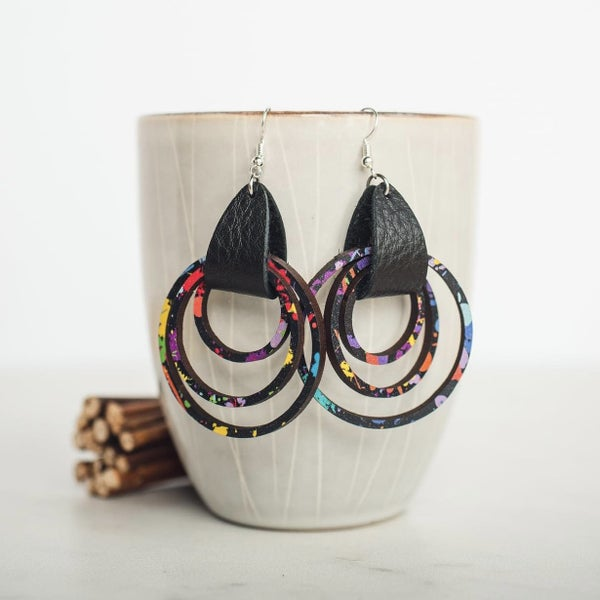 Paint Splatter Leather & Wood Dangle Earrings