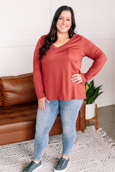 Stealing Basics Long Sleeve Top In Spice