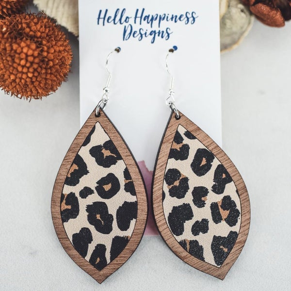 Leopard Wooden Inset Teardrop Dangle Earrings