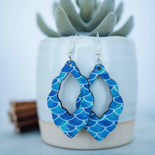 Scalloped Mermaid Wood Dangle Earrings