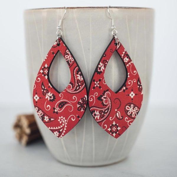 Red Bandana Teardrop Dangle Earrings