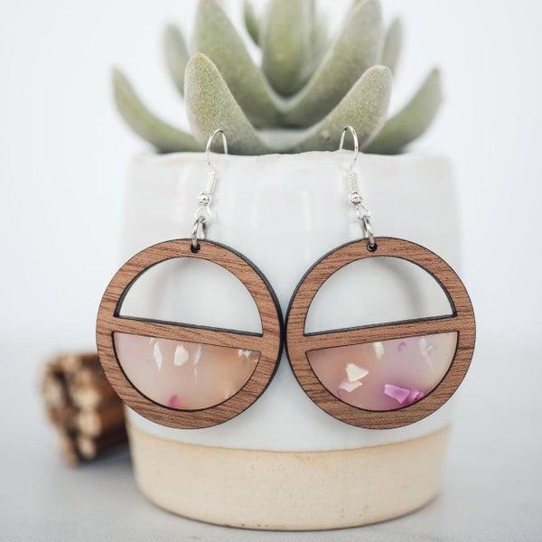 Confetti Wood & Acrylic Inset Dangle Earrings