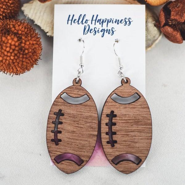 Wooden Football Dangle Earrings