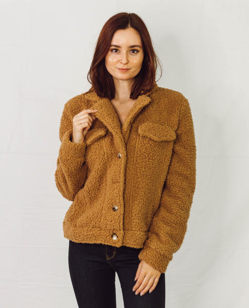 Tan Teddy Button-Up Jacket