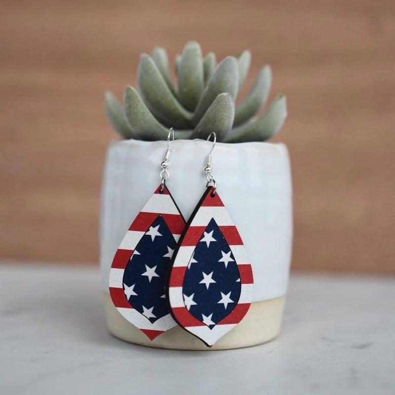 Americana Wood Dangle Earrings