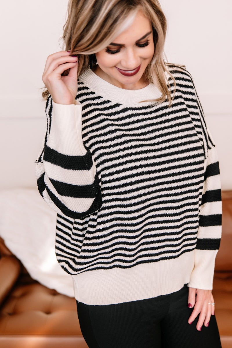 That Was Easy Black & White Striped Pullover Sweater