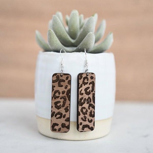 Leopard Engraved Wood Dangle Earrings