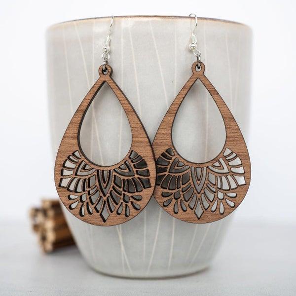 Mandala Teardrop Wooden Dangle Earrings