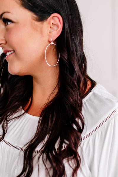 Come My Way Silver Oval Earrings