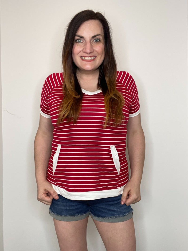 Red Stripe Pocket Top