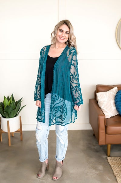 Don't Be Coy Lace Kimono In Teal