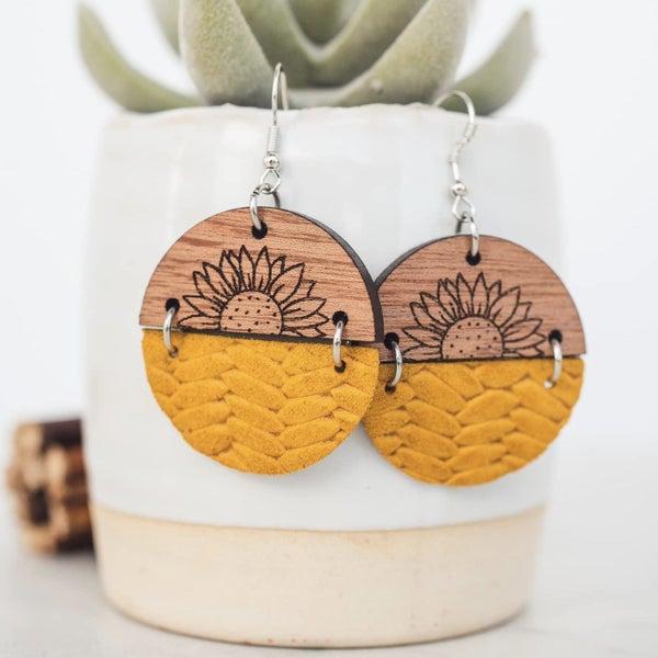 Sunflower Wood & Leather Circle Dangle Earrings