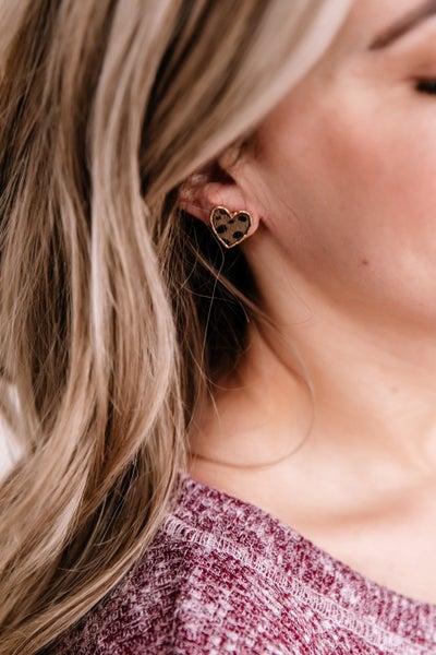 Wild Love Stud Earrings In Olive